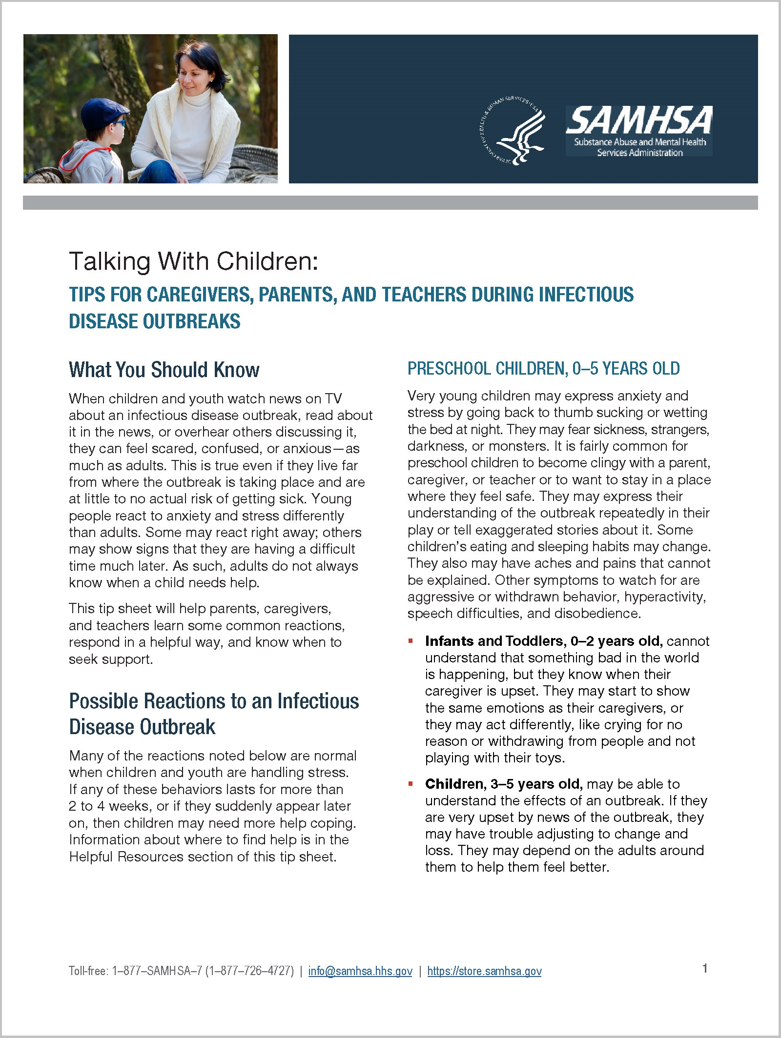 Talking With Children Tips For Caregivers Parents And Teachers During Infectious Disease Outbreaks Samhsa Publications And Digital Products