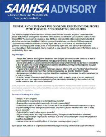 Mental and Substance Use Disorder Treatment for People With Physical and Cognitive Disabilities