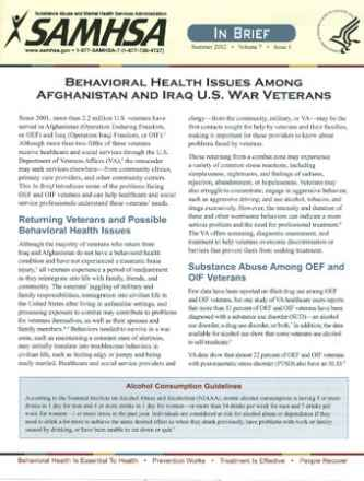 Behavioral Health Issues Among Afghanistan and Iraq U.S. War Veterans