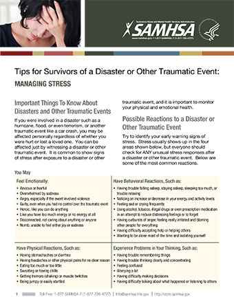 Tips for Survivors of a Disaster or Other Traumatic Event: Managing Stress