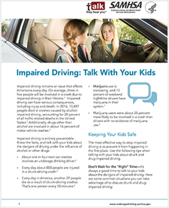 Talk. They Hear You: Impaired Driving: Talk with Your Kids – Fact Sheet