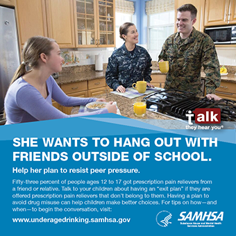 Talk. They Hear You: She Wants to Hang Out with Friends Outside of School Print Public Service Announcement – Wallet Card (Military)