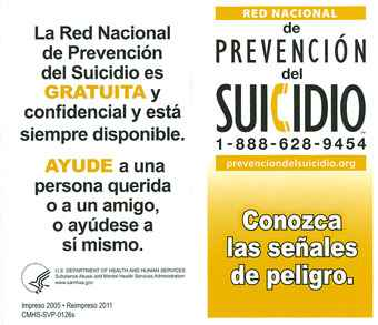 National Suicide Prevention Lifeline Wallet Card: Suicide Prevention: Learn the Warning Signs (Spanish)