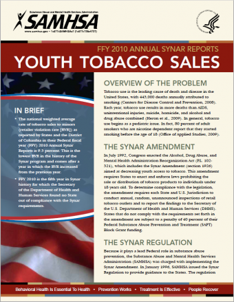 2010 Annual Synar Reports: Tobacco Sales to Youth