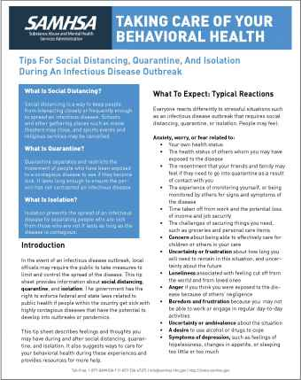 Taking Care of Your Behavioral Health – Tips for Social Distancing, Quarantine, and Isolation During an Infectious Disease Outbreak