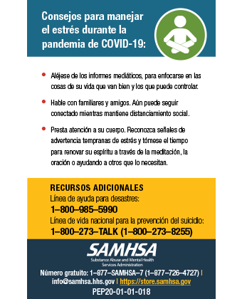 Tips for Managing Stress During the COVID-19 Pandemic - Wallet Card (Spanish version) - Consejos para manejar el estrés durante la pandemia de COVID-19 – Tarjeta de bolsillo