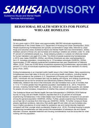 Behavioral Health Services for People Who Are Homeless