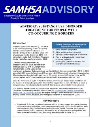 Substance Use Disorder Treatment for People with Co-Occurring Disorders